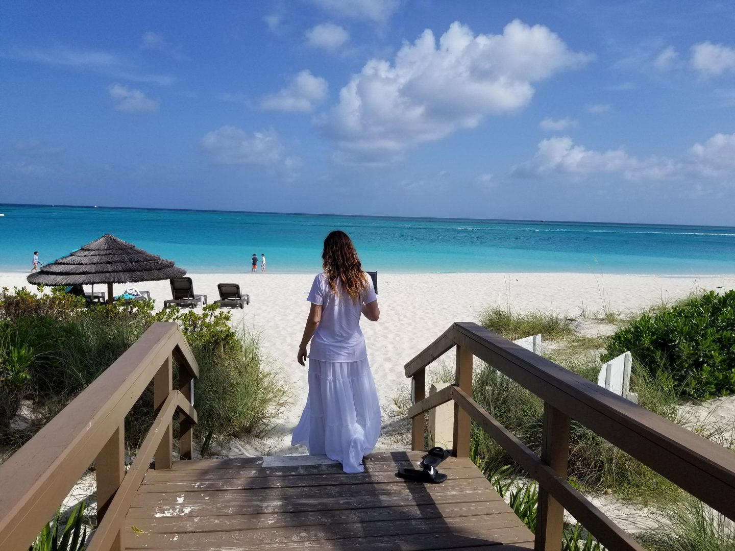 Walking to Turks and Caicos Beach