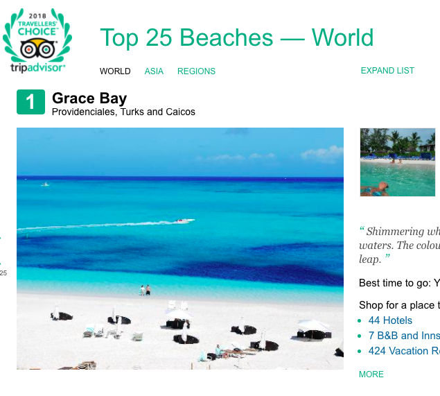 Grace Bay Beach Ranked #1 by Tripadvisor