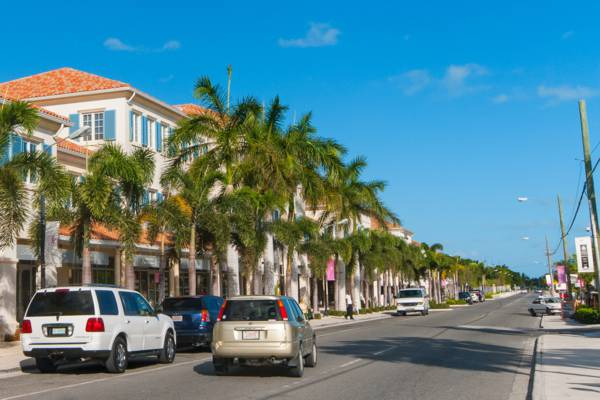Car on street in Providenciales, Turks and Caicos