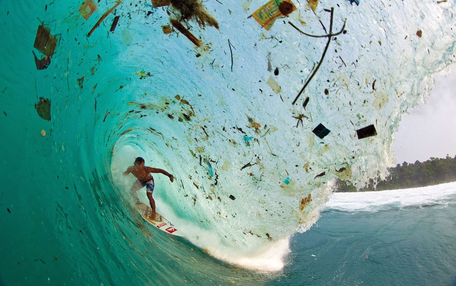 Ocean plastic pollution while surfing