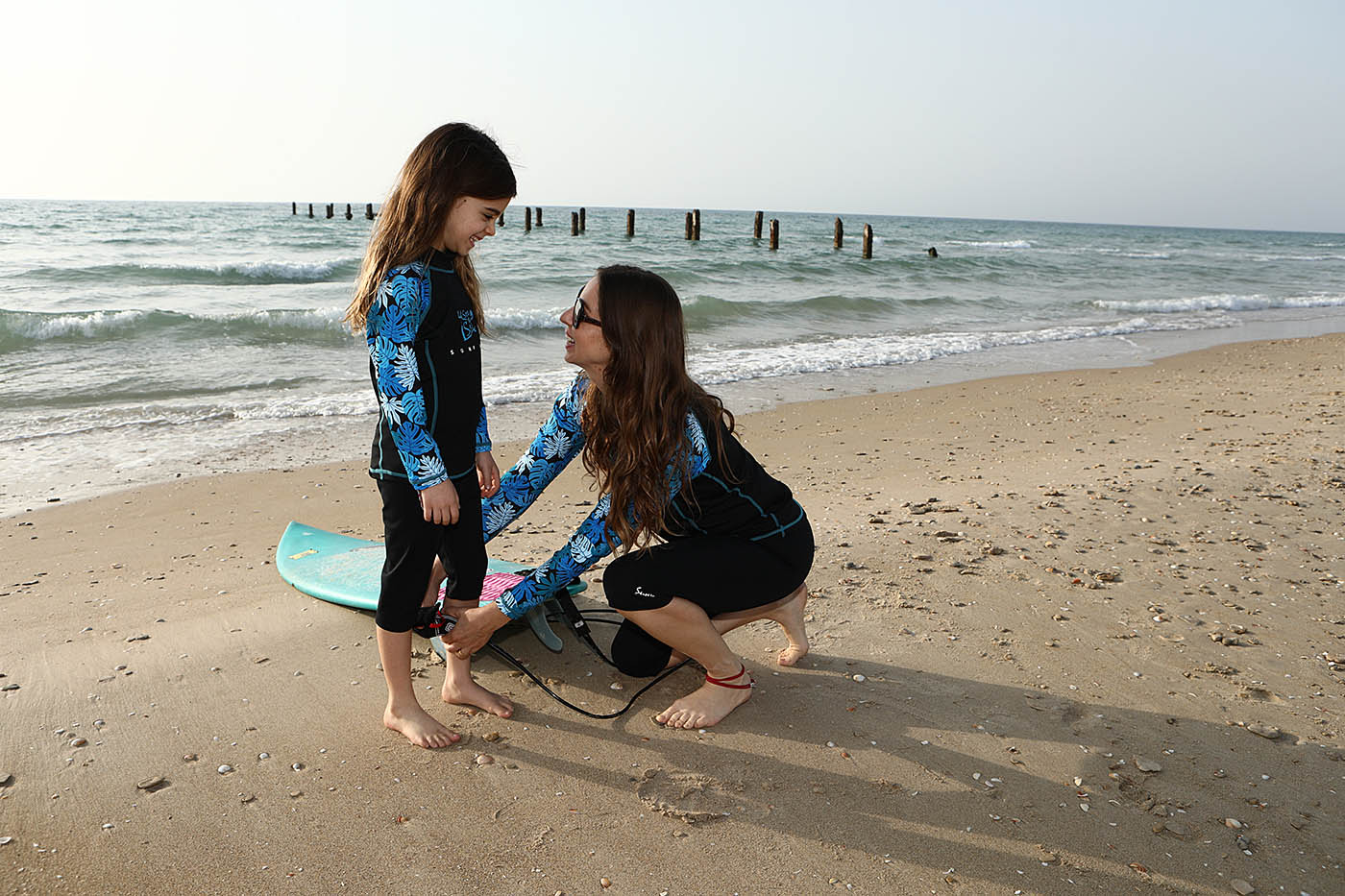 Mother and Daughter wearing Swim Shirts Long Sleeve